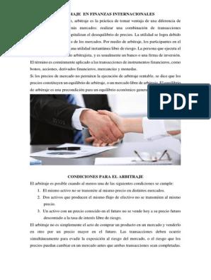Arbitraje En Finanzas Internacionales Docx Arbitraje Dinero