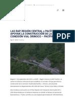 Las Rap, Región Central y Pacífico Apoyan La Construcción de La Conexión Vial Orinoco – Pacífico - Región Central