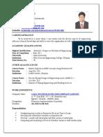 Printable Resume for Mechanical Engineer