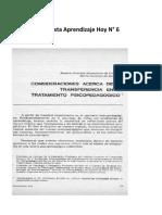 6 Revista Aprendizaje Hoy N°6 TRASFERENCIA EN EL TRATAMIENTO PSICOPEDAGOGICO