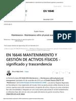 En 16646 Mantenimiento y Gestión de Activos Físicos -Significado y Trascendencia