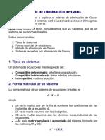Método de Eliminación de Gauss