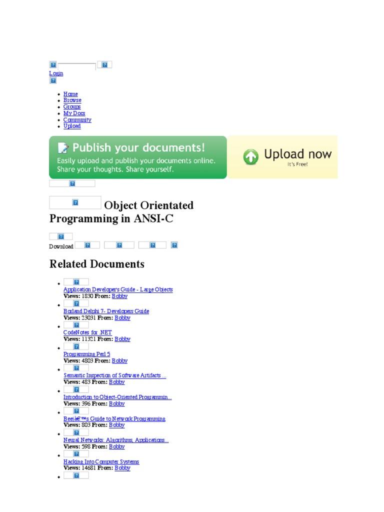 object orientated programming in ansic c programming language rh es scribd com delphi 7 user guide delphi 7 user guide