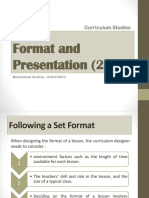 Format and Presentation - Curriculum