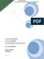 Final Report on Digital Marketing Internship