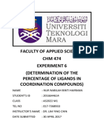Lab Report Exp 6 - Determination of the Percentage of Ligands in Coordination Compounds