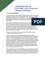 Incidentes Ambientales de Los Proyectos Kori Kollo y Kori Chaca de La Empresa Minera Inti Raymi