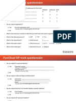 SIP Trunk Questionnaire for Your SIP Provider