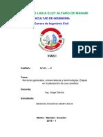 Nociones generales, nomenclaturas y terminologías, Etapas en la planeación de una carretera..docx