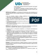 Reglamento Estudiantil UDI 2010 - Transferencias