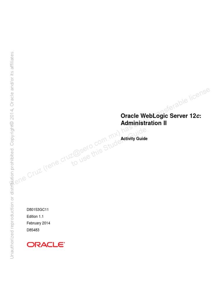 Oracle Weblogic Server 12c Administration II - Activity