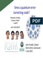 Is Spacetime a Quantum Error-Correcting Code -2015-Dartmouth