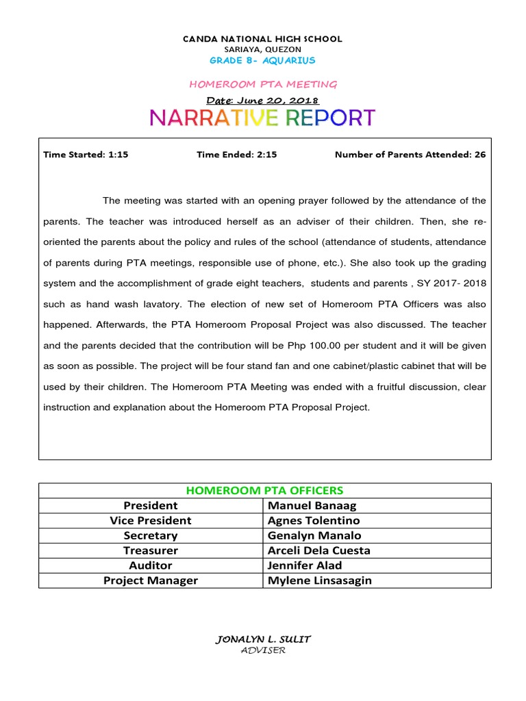 Top Five Pta Meeting Narrative Report - Circus