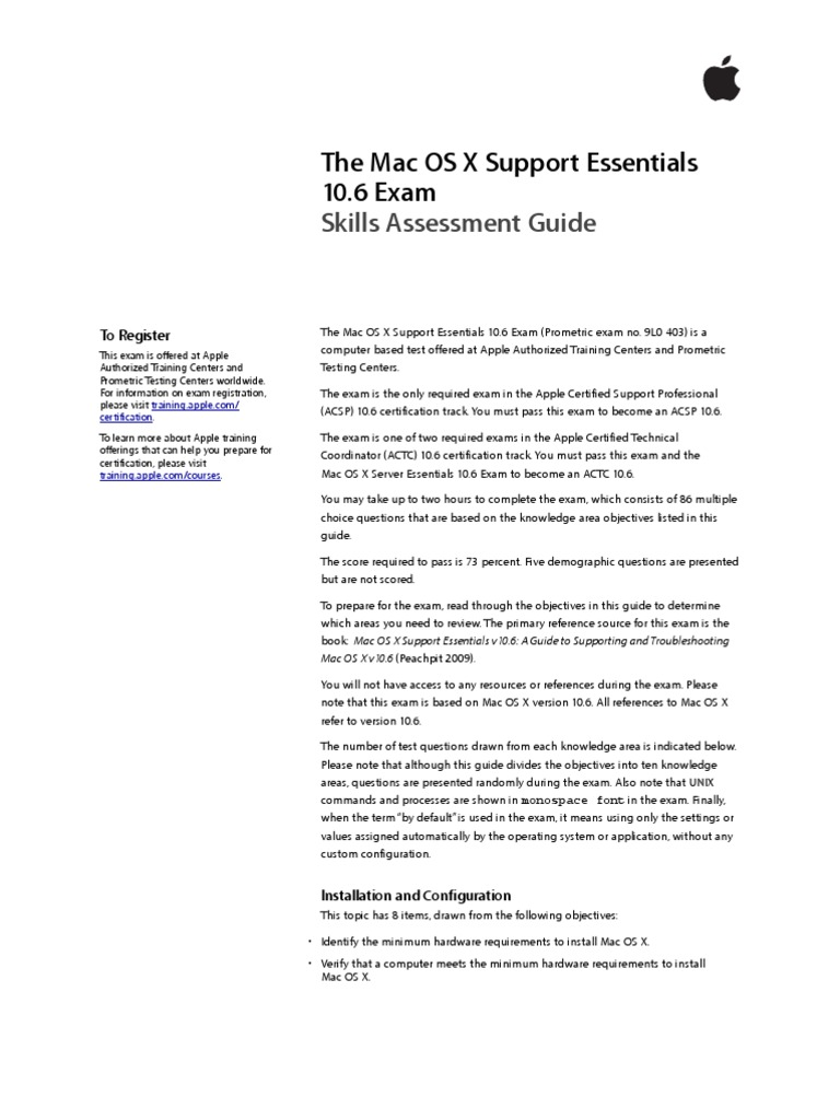 The Mac Os X Support Essentials 10point6 Exam Skills Assessment