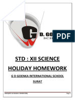 Class 12th Science Holiday Homework-2019-2020