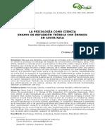 La Psicología Como Ciencia. Ensayo de Reflexión Teórica Con Énfasis en CR