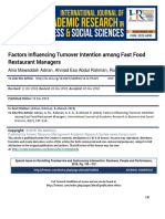 Factors Influencing Turnover Intention Among Fast Food Restaurant Managers