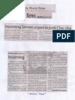 Manila Times, May 20, 2019, Incoming Senate urged to junk Cha-cha.pdf