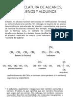 Nomenclatura de Alcanos, Alquenos y Alquinos