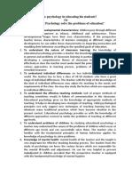 Contribution of Psychology