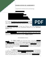 Sample - Memorandum of Agreement