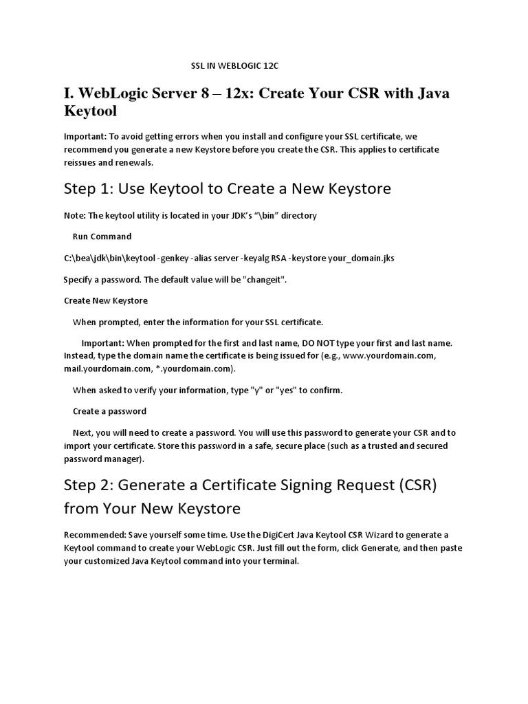 SSL IN WEBLOGIC 12C docx | Public Key Certificate
