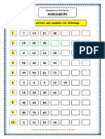 Grade 3 Maths Worksheets Geometry Geometric Patterns in Shapes Numbers 4