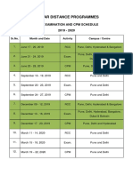 Rcc, Exam. and Cpp Schedule, 2019-2020