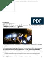 Cristina Kirchner Surpreende Ao Anunciar Candidatura à Vice-presidência Da Argentina - Americas - RFI