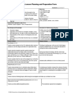 math planning and preparation form