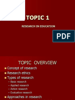 Topic 1 Research in Education