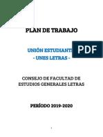 Plan de Trabajo Unes Consejo 2019-2020