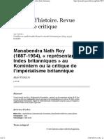 Manabendra Nath Roy (1887-1954), « Représentant Des Indes Britanniques» Au Komintern Ou La Critique de l'Impérialisme Britannique