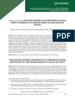 A Importância socioeconômica da Previdência Rural para o Nordeste no debate amplo da Seguridade Social