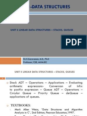 Cs8391 Data Structures Unit II   Queue (Abstract Data Type