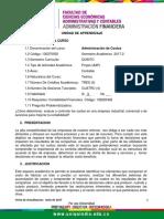 Unidad de Aprendizaje Administracion de Costos (302)