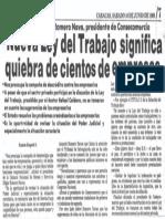 Edgard Romero Nava - Nueva Ley Del Trabajo Significa Quiebra de Cientos de Empresas - Diario 2001 10.06.1989