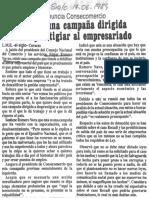 Edgard Romero Nava denuncia - existe una campaña dirigida a desprestigiar al empresariado - Diario El Siglo 14.06.1989