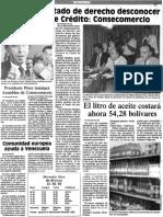 Presidente Perez instalará Asamblea de Consecomercio - El Nuevo Pais 16.13.1989