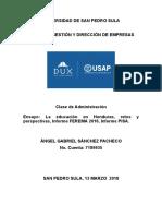 Ensayo Sobre La Educación en Honduras