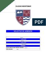 Solicitud Admision Montemar 2016-2