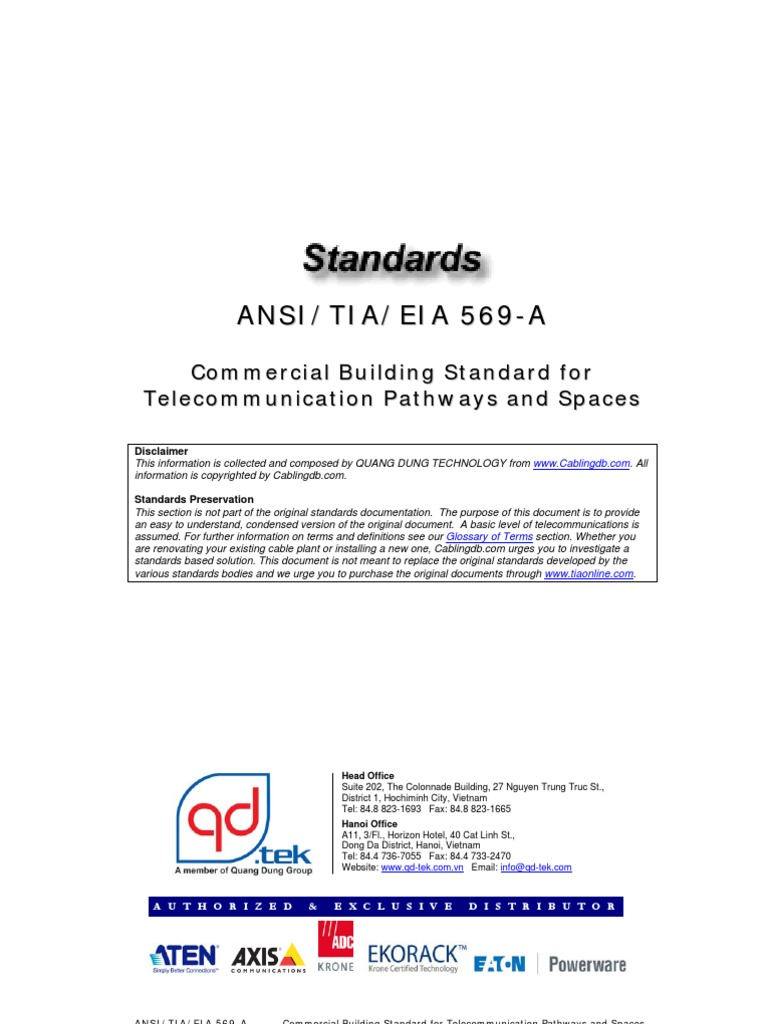 Cabling Standard - ANSI-TIA-EIA 569 a - Commercial Building Standard ...