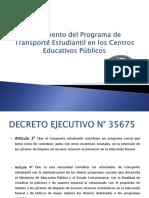 Presentación de Reglamento de Transporte