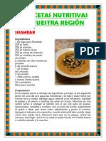 10 Recetas Nutritivas de Nuestra Región