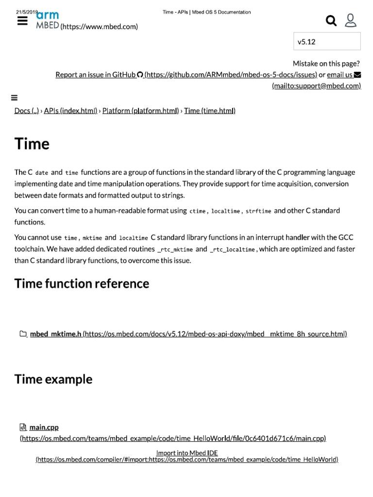Time - APIs _ Mbed OS 5 Documentation pdf