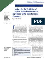 Biologic API Manufacturing Validation