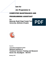 MRSPTU Curriculum for One-Year Certificate Programme in Computer Maintenanc