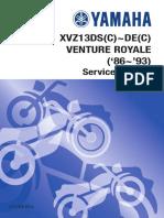 Yamaha XVZ13 Venture Royale Service Manual 86-93