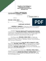 Complaint Affidavit Sencar
