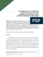 ANÁLISE DE UMA CARTILHA INSTITUCIONAL EM UMA ABORDAGEM MODULAR DA COMPLEXIDADE DO DISCURSO